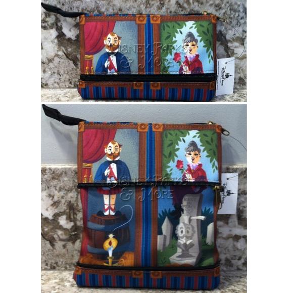 Disney Parks Haunted Mansion Stretching Portrait Zipper Pouch Clutch Purse Bag